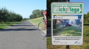 Hinweis Deichpflege, Rhein-Radweg