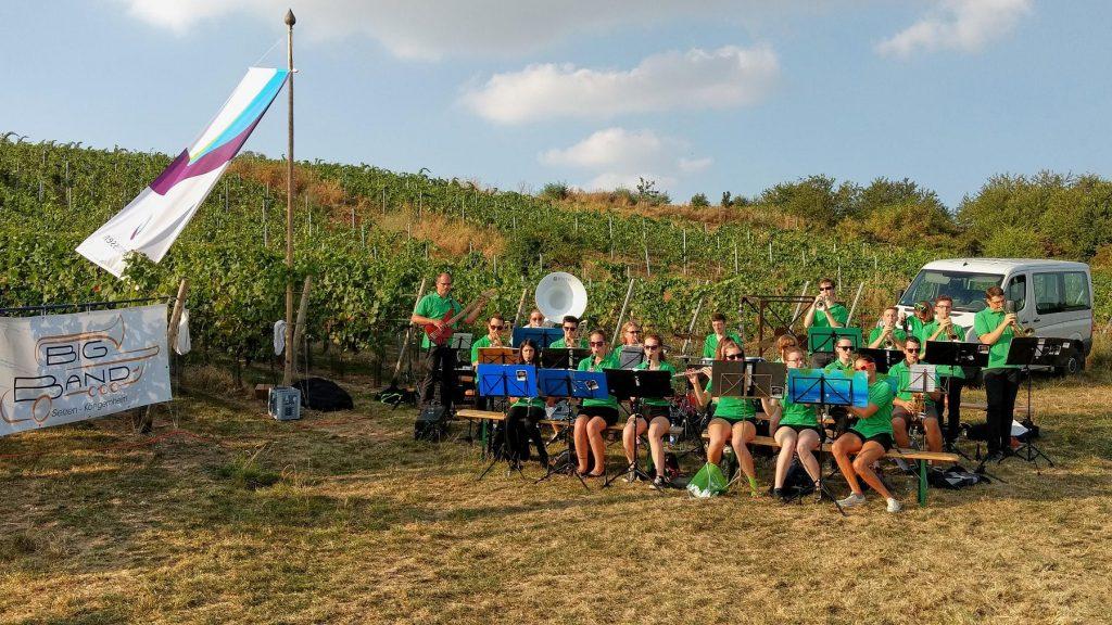 Bigband Selzen-Köngernheim spielt zur Weinprobe in den Weinbergen